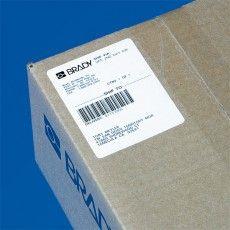 Синтетические бумажные этикетки Brady B-424 для маркировки упаковки на складе.