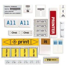 Образцы материалов и прозрачные наклейки напечатанной на принтере BMP71.